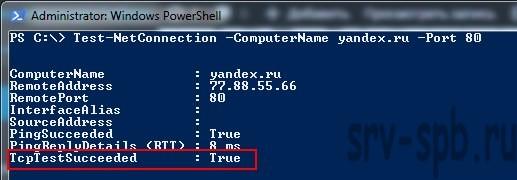 Как проверить порт через PowerShell на Windows 7