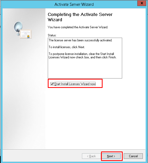 Completing the Activation Server Wizard