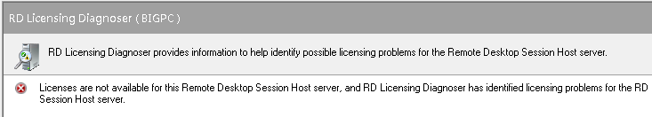 Licenses are not available for this Remote Desktop Session Host server